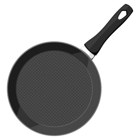 cast iron: Vector image of a black cast iron pan with a handle on a white background. Subject kitchen accessory. Stock vector illustration