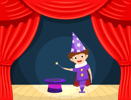 role play: Young magician on stage. Childrens performance. Small actor with a magic wand and  cylinder on stage playing the role of a wizard. A scene from the play. Stock illustration