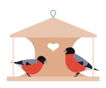 two birds: Two bullfinch on manger. Two birds on a wooden manger with heart on a white background. Illustration of love and friendship. stock vector Illustration