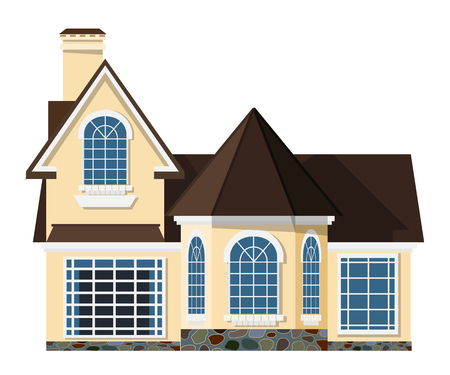 investment real state: Flat style. Small two-storey house with beautiful arched windows on a white  background. Icon Building. Element for the site estate agency. Symbol of wealth and success.  Stock vector illustration