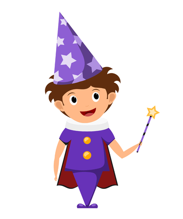 The little magician. A child in a purple suit and cap with stars with a magic wand in his  hands. Illustration of childrens performance, show. Cartoon style. The young actor, wizard.