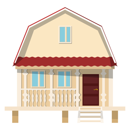 brokerage: Small village house on stilts on a white background. The flat style. Color vector image for real estate brokerage site, advertising booklet. Illustration