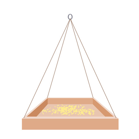 Feeders for birds on a white background. Wooden trough on a rope and a mound of grain. Illustration of nature protection, care of animals and birds. Design element. Stock vector illustration