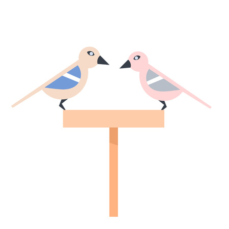 Pair of lovely stylized birds on a feeding trough on a white background. Stock vector illustration