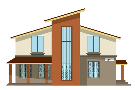 sloping: Flat style. Cartoon building. Modern two-storey private house with a sloping roof on a white  background. Isolate. Icon Building. Element for the site estate agency. Symbol of wealth and  success.