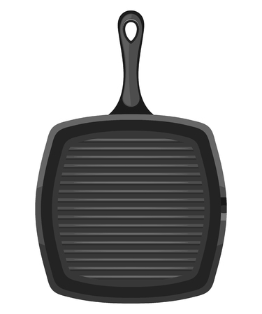 cast iron: Vector image of a black square cast iron pan with a handle on a white background. Subject kitchen accessory. Stock vector illustration
