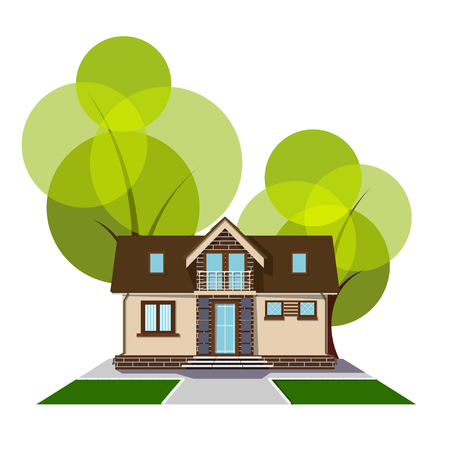 veranda: Beautiful small house with a loft, balcony and trees in the background. Building with an  attic, track and grass lawn. Cozy rural house with a mezzanine. Stock vector illustration