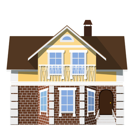 investment real state: Flat style. style. Small beautiful two-storey house with bay window on a white background.  Icon Building. Element for the site estate agency. Symbol of wealth and success. Stock vector illustration