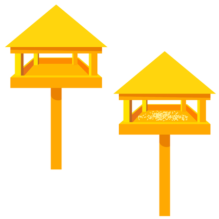 Feeders for birds on a white background. Wooden feeder with a roof . Illustration of nature protection, care of animals and birds. Design element. Stock vector illustration
