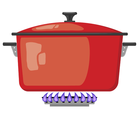 stove top: Cartoon red metal pan with the lid closed on a gas stove. Vector image kitchen pan in the fire. Stock vector illustration