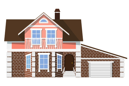 investment real state: Flat style. style. Small beautiful two-storey house with garage on a white background. Icon  Building. Element for the site estate agency. Symbol of wealth and success.
