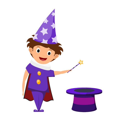 The little magician. A child in a purple suit and cap with stars with a magic wand in his hands  and cylinder. Illustration of childrens performance, show. Cartoon style. The young actor, wizard. Illustration