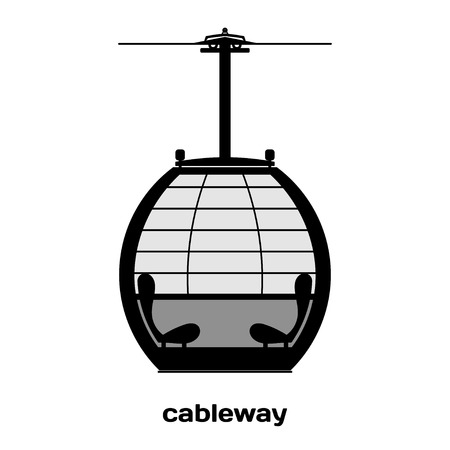 ropeway: Cabin cableway. Vector Image. Black and white image details ropeway construction. Design element. Stock vector Illustration