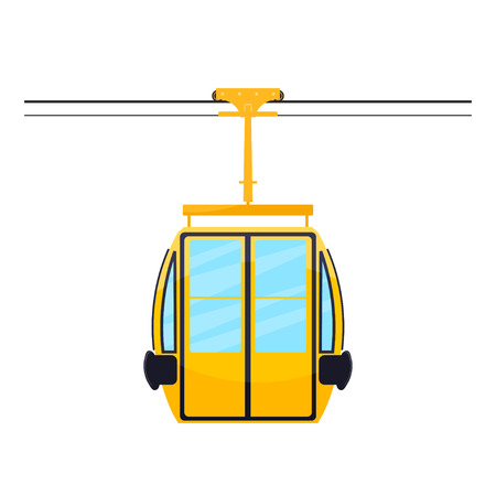 cableway: Colored silhouette of the cabin cableway. Design element of the cableway. Abstract object on  a white background. Stock vector illustration Illustration