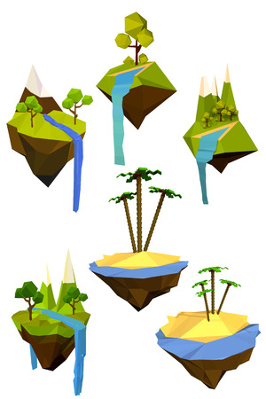 Vector set of colored flying islands with trees, mountains and waterfalls. Abstract symbol of nature. Ecology symbol. Stock vector illustration Illustration