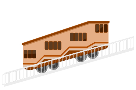 Color vector funicular with a handrail on a white background. The element of urban  transport design. Design mountain tram. Stock vector illustration Illustration