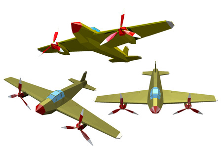 world war ii: Set of color vector military airplanes on a white background. Low poly style. Aircraft of  World War II. Stock vector illustration Illustration