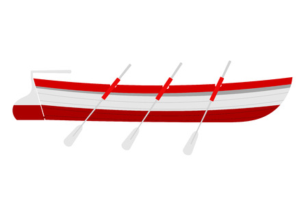 oars: Vector illustration of a rescue boat with wooden oars red on a white background, Marine Boat, transport rescue service Illustration