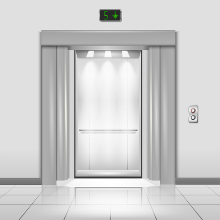 metal doors: Closed chrome metal office building elevator doors with rays of light in the cab realistic  vector illustration