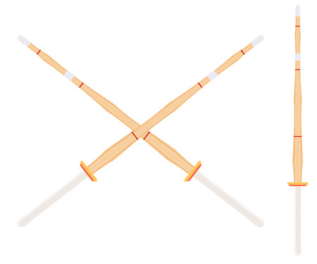 Two crossed bamboo training sword for kendo classes. Wooden Japanese swords, kendo art. Shinai sword. Vector kendo weapon