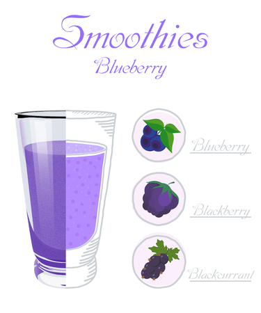 Vector illustration of a glass cup smoothie with blueberries, blackberries, blackcurrants. Healthy nutrition. Vegan drink. A healthy breakfast