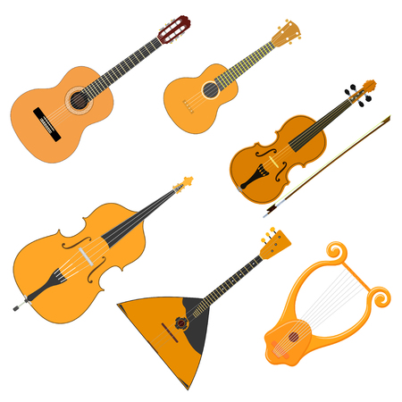 Vector color set of acoustic stringed musical instruments on a white background. Isolate. Violin, guitar, balalaika, ukulele, bass, cello, lyre. Stock illustration