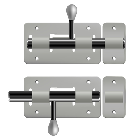 latch: Vector illustration of an open and closed metal latches on white background. Isolated object.  Realistic vector latch Illustration