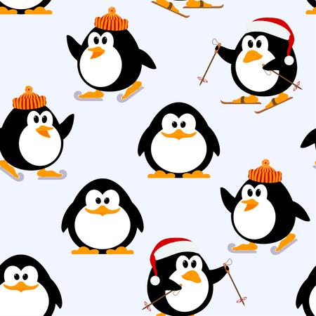 재생하는 젊은 펭귄 벡터 원활한 패턴입니다. 펭귄 스케이트, 스키. 동계 게임. 아이 펭귄 겨울의 그림