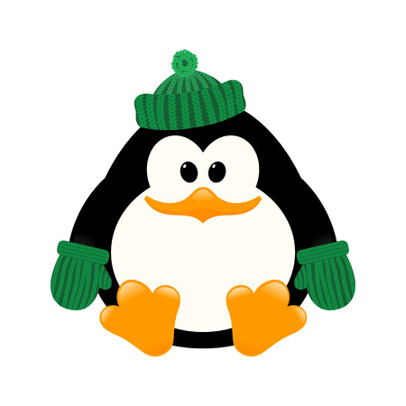 Vector illustration of a young cute penguin in a knitted cap and mittens sitting on the ice.  Isolate. Winter sitting Baby Penguin