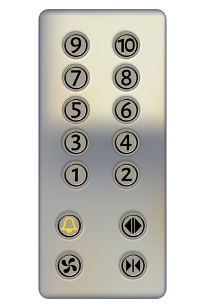 Control panel of the elevator on a white background. Metal elevator panel with buttons and numbers of floors. Realistic style. Vector illustration of the elevator panel. Isolated object Vettoriali