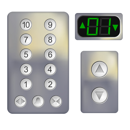 keypad: Realistic Control panel of the elevator on a white background. Metal elevator panel with  buttons and numbers of floors. Vector illustration of the elevator panel. Isolated object