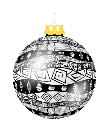 Vector Christmas decoration made from tribal shapes. Original circle element. Simple  decorative color illustration for print. Black Christmas ball with Tribal pattern