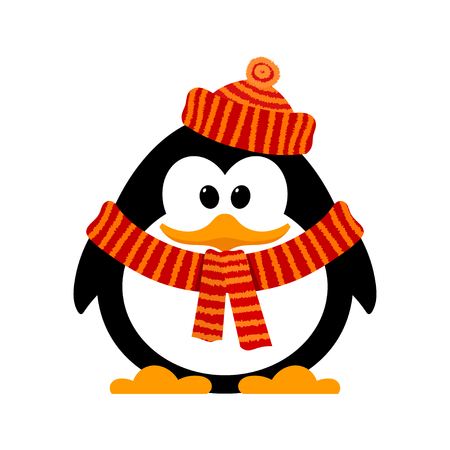 Little cute penguin on a white background. Vector illustration of a baby penguin in hat and scarf on the neck. Isolate. Fauna of the Antarctic. Symbol of winter, Cartoon style.
