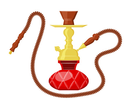 hooka: Vector illustration of hookah on white background. Cartoon drawing of a calabash. Vintage object. East Entertainment - hookah.