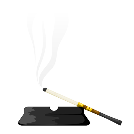 Vector illustration of abstract elegant vintage mouthpiece with ashtray on a white background. Cigarette in cigarette holder with ashtray Cartoon style on a white background, isolated object. Accessory vintage fashion