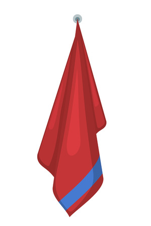 Vector illustration of hanging red terry towels on a white background. Cartoon style. Required items of hygiene. Bath towel affiliation