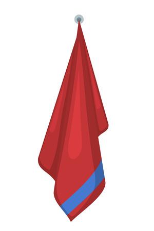 Vektor-Illustration auf einem weißen Hintergrund roten Frottierwäsche hängen. Cartoon-Stil. Benötigte Gegenstände der Hygiene. Badetuch Zugehörigkeit