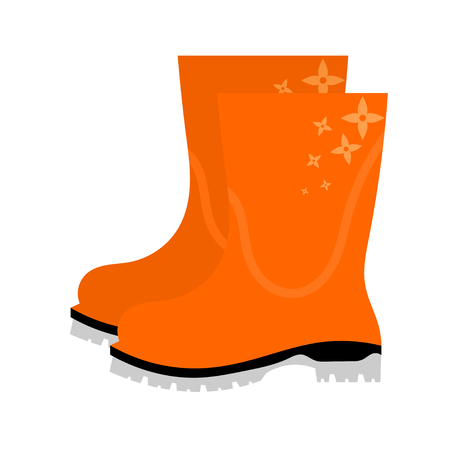 wellie: Vector illustration of abstract yellow rubber boots with floral ornament on a white background. Autumn shoes on a white background. Isolated object