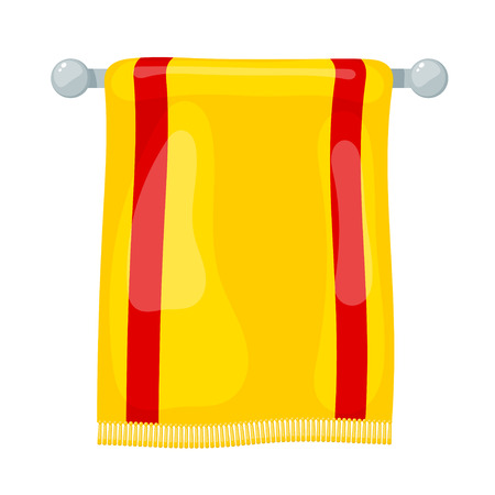 affiliation: Vector illustration of yellow towels terry towels on holder on a white background. Cartoon style. Required items of hygiene. Bath towel affiliation Illustration