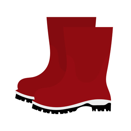 red boots: Vector illustration of abstract red rubber boots on a white background. Autumn shoes on a white background. Isolated object Illustration