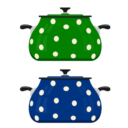 Green and blue cartoon saucepan on a white background. Kitchen utensils. Color image red pots. Stock vector Illustration