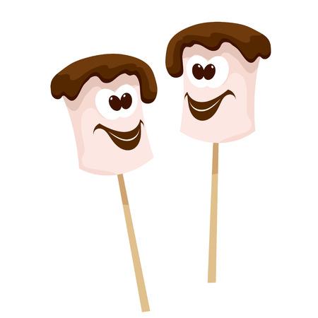 흰색 배경에 만화 스타일에서 초콜릿 마쉬 멜 로우와 두 스틱. 벡터 일러스트 레이 션. 음식, 캠핑을 즐기세요. 여름 캠프에서의 음식