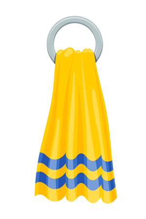 Vector illustration of yellow towels terry towels on round holder on a white background. Cartoon style. Required items of hygiene. Bath towel affiliation Illustration
