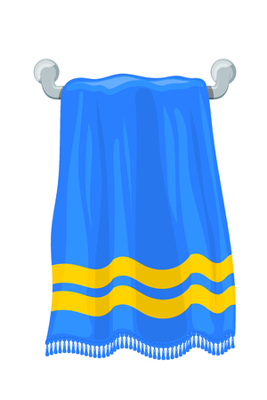 Vector illustration of blue towels terry towels on holder on a white background. Cartoon style. Required items of hygiene. Bath towel affiliation Stock Illustratie