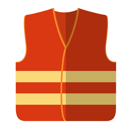 Vector illustration of an orange safety vest road worker, builder. Protective working clothes, orange vest. Flat style safety on a white background Vettoriali