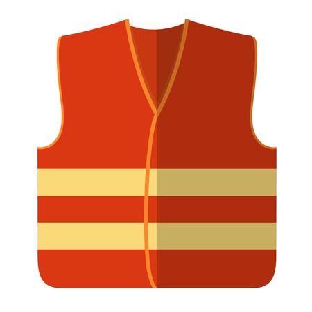 Vector illustration of an orange safety vest road worker, builder. Protective working clothes, orange vest. Flat style safety on a white background Illustration