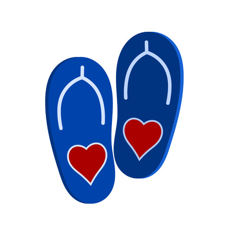 affection: Vector illustration of a pair of blue slap a red heart. Symbol of love and affection. Beach shoes on a white background. Isolated object
