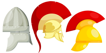 antiquarian: Set of ancient bronze military helmets. Vector illustration of helmets for battle. Set of images  of ancient armor of Rome, Greece, Persia.