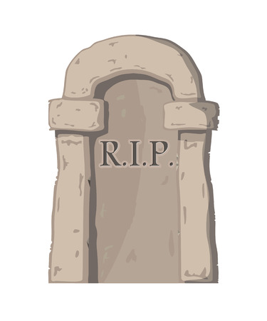 grave stone: Vector illustration big gravestone on white background. Cartoon image of a grave stone with the text RIP.