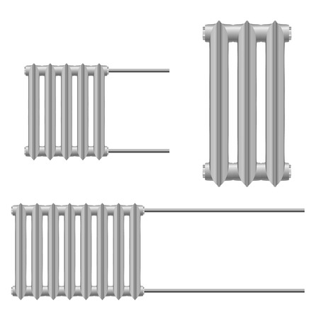 Set Vector illustration of a metal heat radiator on a white background. Home heating element.  Abstract thing home construction element